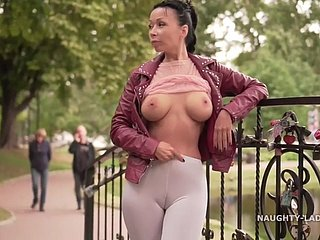 white leggings..., out-and-out blouse & cameltoe magic