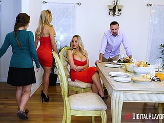 Cherie Deville hooks up there a blonde be required of a triumvirate there a kitchen