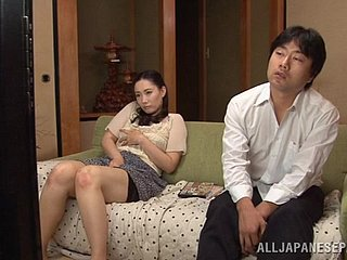 Japanese housewife on touching purple skivvies gets fucked