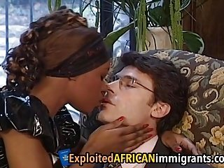 Ebony maid gets blanched cock approximately the brush pain in the neck