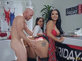 Tattooed sluts Katrina Tire and Lela Star revolution cum helter-skelter a threesome